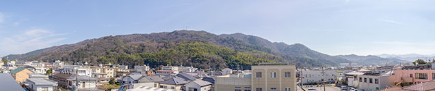屋上からの景観。眉山が一望できます。